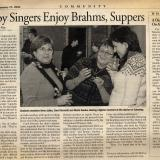 Happy singers enjoy Brahms, Suppers